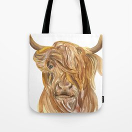 Highland Cow Watercolor Tote Bag