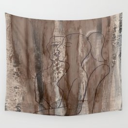 Kiss Me - Vintage - Modern Art Abstract - Picasso Style Wall Tapestry