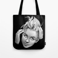 miley cyrus Tote Bags featuring Miley Cyrus by anomaly alice