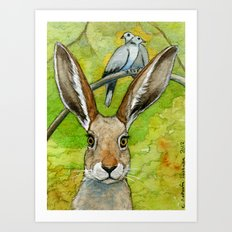 Funny bunnies-thoughts of love 836 Art Print