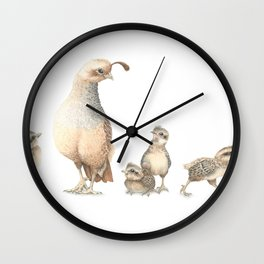 Quail Family with Mom and Babies Wall Clock