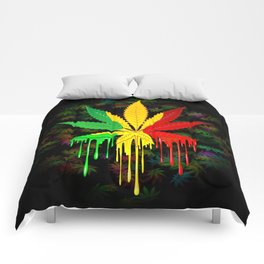 Marijuana Leaf Rasta Colors Dripping Paint Comforters