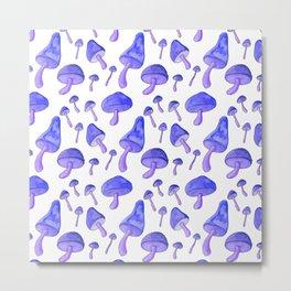Blue Mushrooms Metal Print