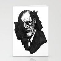 freud Stationery Cards featuring Sigmund Freud by Chuchuligoff