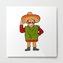 Cartoon happy Mexican Metal Print