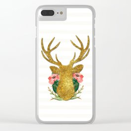 Floral Gold Deer Clear iPhone Case