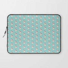 Modern teal white cute Christmas bear pattern Laptop Sleeve