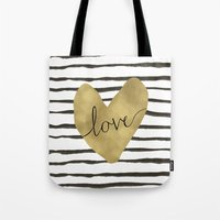 gold foil Tote Bags featuring Love gold foil heart by Retro Love Photography