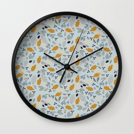 Hand drawn leaves Autumn background Wall Clock