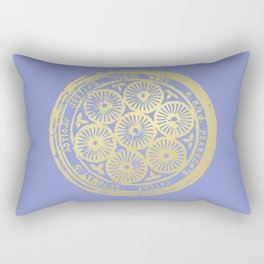 flower power: variations in periwinkle & gold Rectangular Pillow