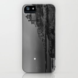 "Full ""Pink"" Moon at Good Harbor Beach BW iPhone Case"