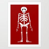 skeleton Art Prints featuring Skeleton by Emma Harckham