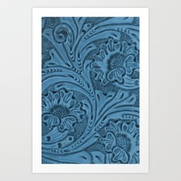 Cornflower Blue Tooled Leather Kunstdrucke
