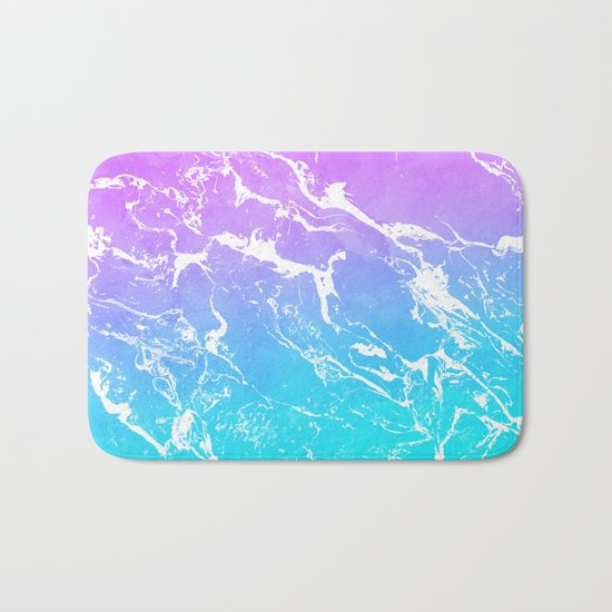 Modern summer purple blue ombre watercolor mermaid white marble Bath Mat