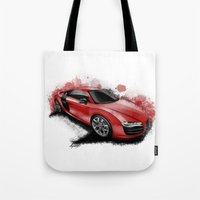 audi Tote Bags featuring R8 V10 by an.artwrok