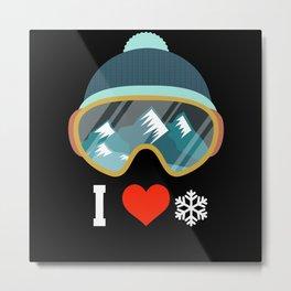 Ski Ski Goggles Skiing Ski Slope Ski Binding Metal Print