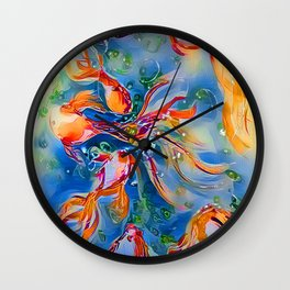 Rainbow Bubbly GoldFish watercolor by CheyAnne Sexton Wall Clock