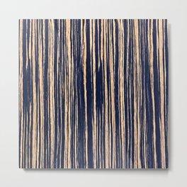 Vertical Scratches on Dark Blue Metal Texture Metal Print