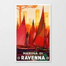 Vintage Marina di Ravenna Italy Travel Canvas Print