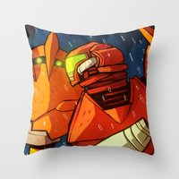 samus Throw Pillows featuring Samus (Metroid) by Peerro