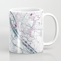 vienna Mugs featuring Vienna map by MapMapMaps.Watercolors