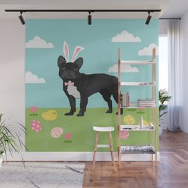 French Bulldog easter spring dog breed gifts pure breed frenchies black with white coat Wall Mural