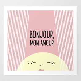 Bonjour Mon Amour Pink #babygirl #nursery #childrensroom #baby #babyshower #illustration #gift Art Print