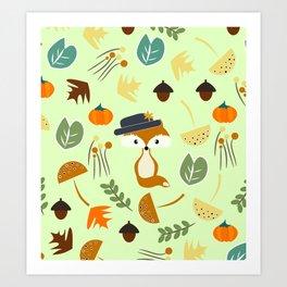 Cute fox in autumn Art Print