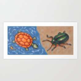 Turtle and Beetle Mug Art Print