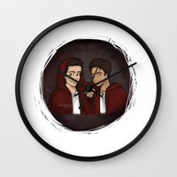 "teen wolf Wall Clocks featuring Teen Wolf ""Scott & Stiles"" by Laia™"