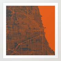 chicago map Art Prints featuring Chicago map by Map Map Maps