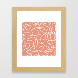 Doodle Line Art | White Lines on Coral Background Framed Art Print