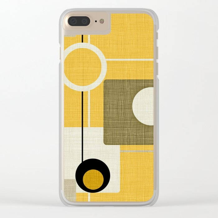 orbs and square gold yellow Clear iPhone Case