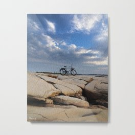 Alone in front of the see Metal Print