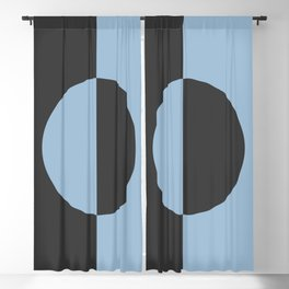 Pastel Blue and Black Minimal Circle Design 2021 Color of the Year Earth's Harmony and True Black Blackout Curtain