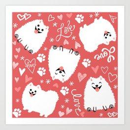 White Pomeranians Pattern Art Print