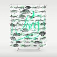 pisces Shower Curtains featuring Pisces by Sergi Ferrando