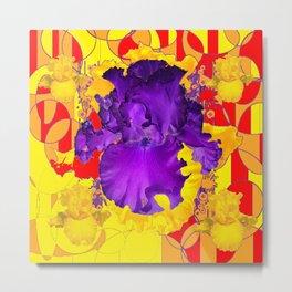 Amethyst Purple Iris Geometric Red & Gold Patterns Metal Print