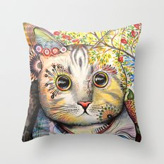Smokey ... abstract cat art Throw Pillow