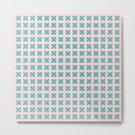 Pink & Aqua Flower in Geometric Style Metal Print