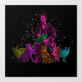 Preposterous Presidents - Lincoln - Rainbow Cat Party Canvas Print