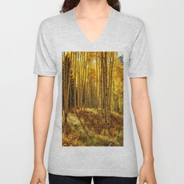 Autumn Aspen Forest Aspen Colorado  Unisex V-Neck