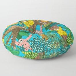 Happy Sloths Jungle Floor Pillow