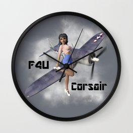 F4U Pin Up Art Wall Clock