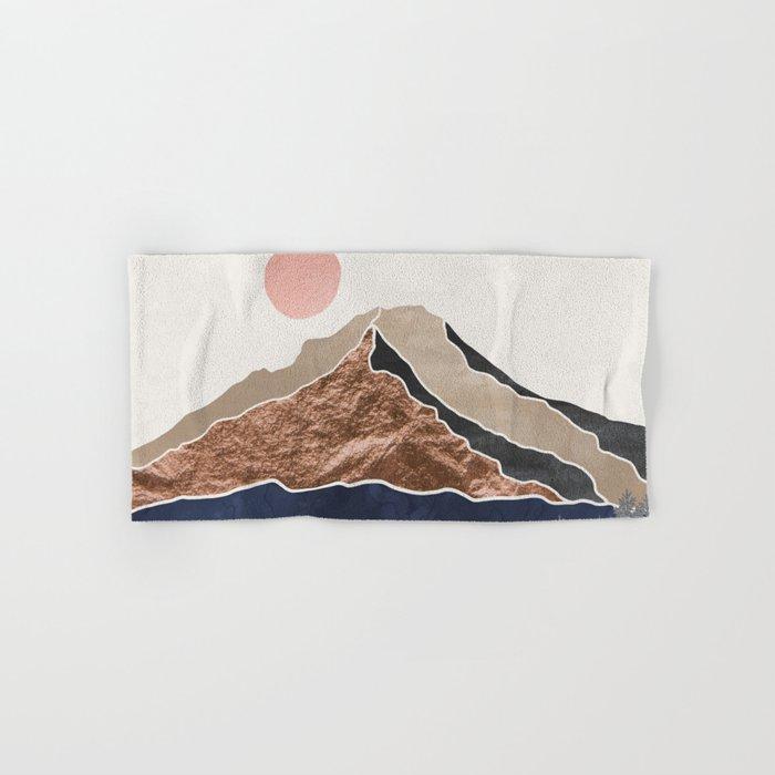 Mount Hood // Daylight Art Print Oregon Stratovolcano Rose Gold Silver Blue Cream Black Mountain Hand & Bath Towel