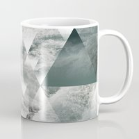 polygon Mugs featuring Waves polygon by cat&wolf