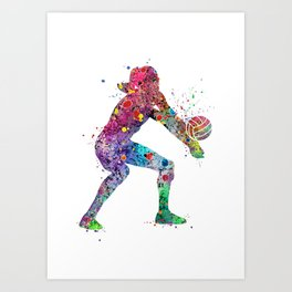 Volleyball Girl Watercolor Print Girls Room Decor Volleyball Poster Girl Volleyball Wall Art Art Print