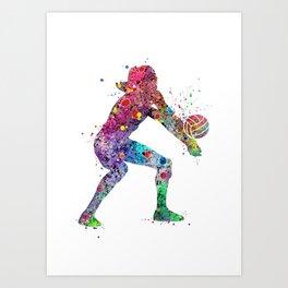 Volleyball Girl Watercolor Print Girls Room Decor Volleyball Poster Girl Volleyball Wall Art Art Print