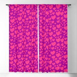 Purple Pink Hearts Blackout Curtain