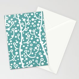 Mid Century Modern Spring Blossoms Teal Stationery Cards